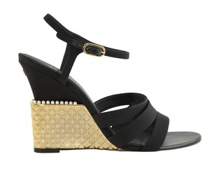 Chanel Gold Hardware Pearl Quilted Metallic Crystal Black Sandals