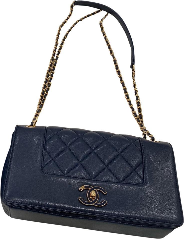 e2afd9beed13 Chanel Classic Flap Mademoiselle Vintage Navy Blue Lambskin Leather ...