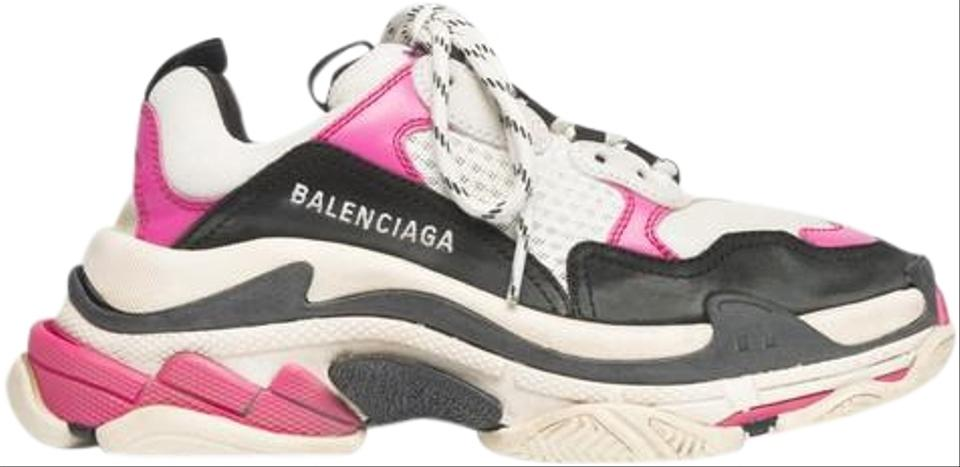 a599d76d3912 Balenciaga Black Triple S Sneaker Womens Pink Leather Speed Flat Trainer  Sneakers