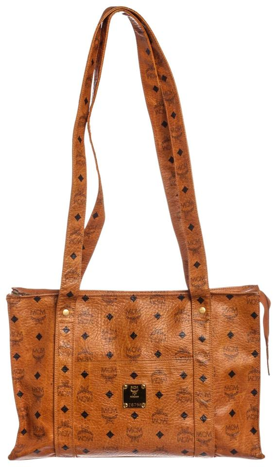 Mcm Bag Visetos Coated Vintage Large Cognac Brown Canvas And Leather Tote 44 Off Retail