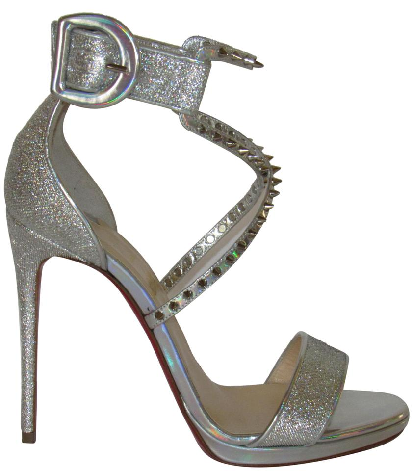 3dbbabc04d46 Christian Louboutin Red Sole Spiked With Box Ankle Cuff Heels Silver  Sandals Image 0 ...
