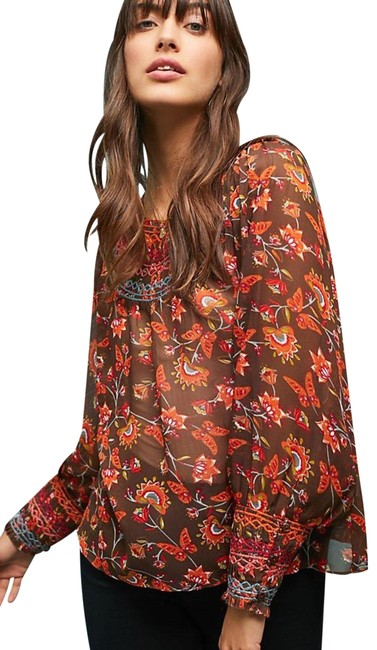 Item - Brown Motif XS Montrose Embroidered Peasant Blouse Size 2 (XS)