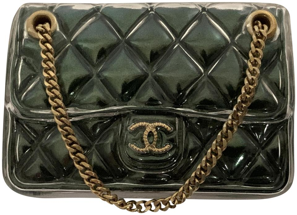 dae57d6123e789 Chanel Chanel Green Quilted Classic Flap CC Logo Purse Handbag Pin Brooch  Image 0 ...