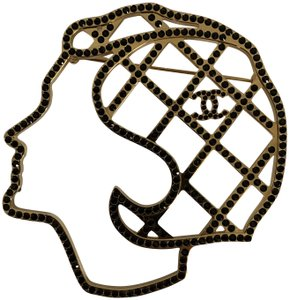 Chanel Gabrielle Coco Chanel Face Silhouette CC Logo Crystal Pin Brooch