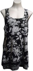 INC International Concepts Racer Metallic Florals Top Black, White
