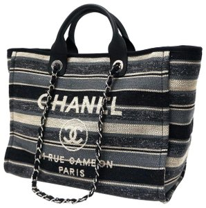 Chanel Canvas Cambon Tote in Black Grey