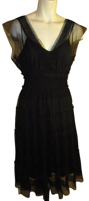 Item - Black Sleevless Mesh Sequined Mid-length Cocktail Dress Size 4 (S)
