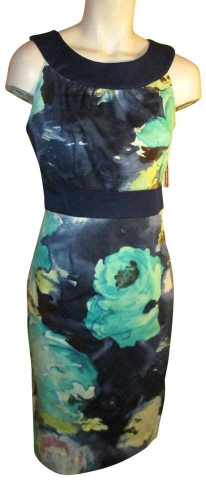 45b4f86b1250 Merona Navy & Turquoise Multi Floral Print Sleeveless Cotton Short ...