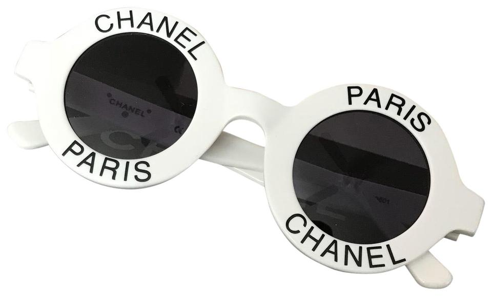 00648ec65338 Chanel White Paris Rare Round Vintage Sunglasses - Tradesy