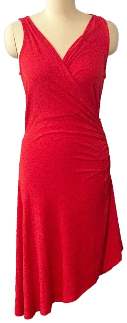 Item - Red Asymmetric Mid-length Cocktail Dress Size 8 (M)