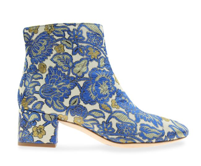 Item - Blue Floral Brocade Shelby 50mm Boots/Booties Size US 7.5 Regular (M, B)