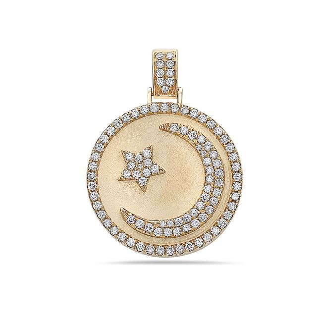 Item - 14k Yellow Gold Islam Pendant with 1.17 Ct Diamonds