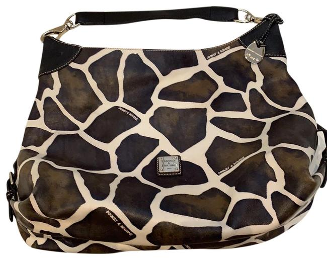 Item - D&b Giraffe Print Brown/White with Silver Hardware Leather Hobo Bag