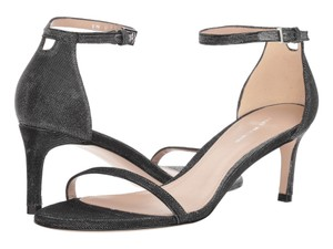 Stuart Weitzman Formal Evening Ankle Strap Mid Heel Black Nighttime Sandals