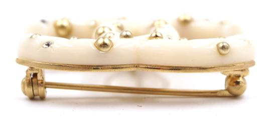 Chanel CC crystals pearls gold stud hardware brooch pin charm
