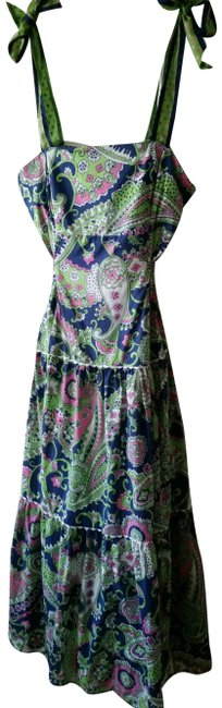 Item - Green Blue Pink White Boho Tiered Bustier Paisley Mid-length Casual Maxi Dress Size 8 (M)