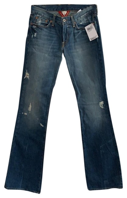 Item - Medium Rinse with Fading Along Thighs and Knees and Back Hem. Distressed Sweet N Low Boot Cut Jeans Size 2 (XS, 26)