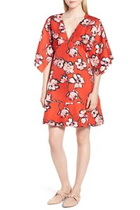 Lewit short dress Red Kimono Floral Silk Above on Tradesy