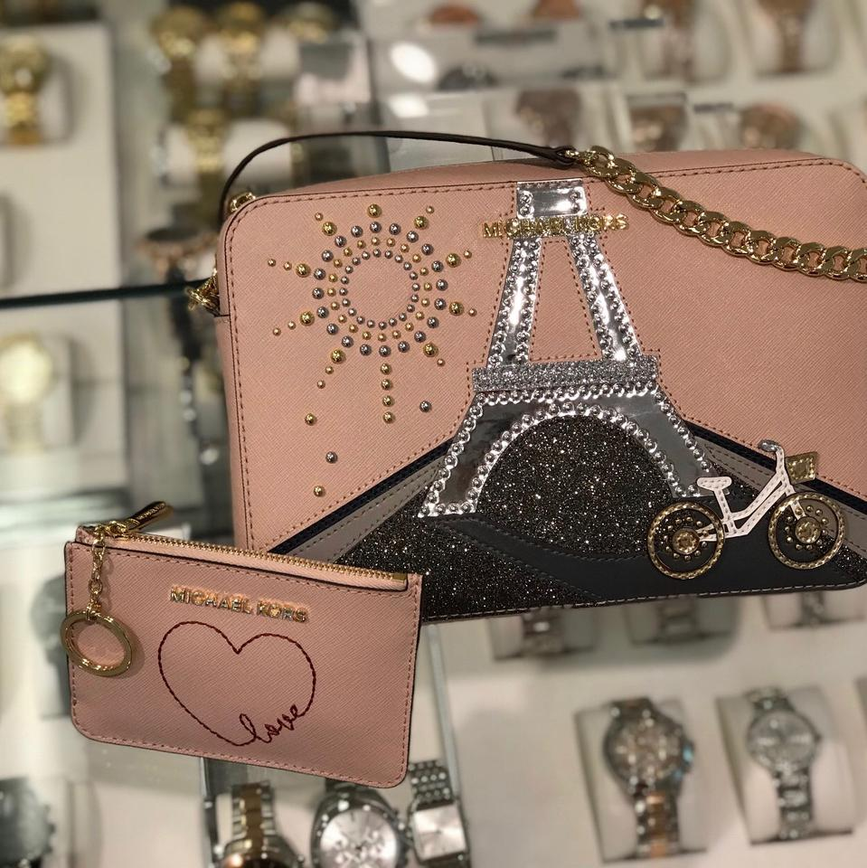 Michael Kors Limited Edition Paris Crossbody&wallet Pink Leather Cross Body Bag 50% off retail