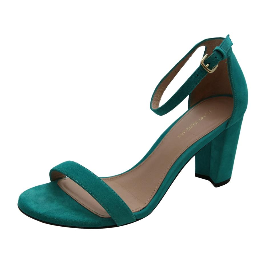 Stuart Weitzman Turquoise Nearly Nude Women Suede Leather Block Sandals Size Us 9 -8852