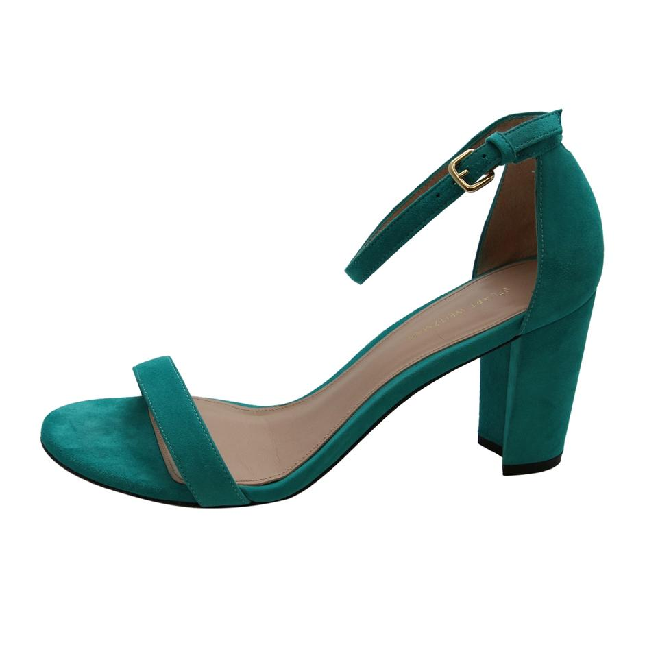 47442f6a4b3e Stuart Weitzman Turquoise Nearly Nude Women Suede Leather Block Sandals