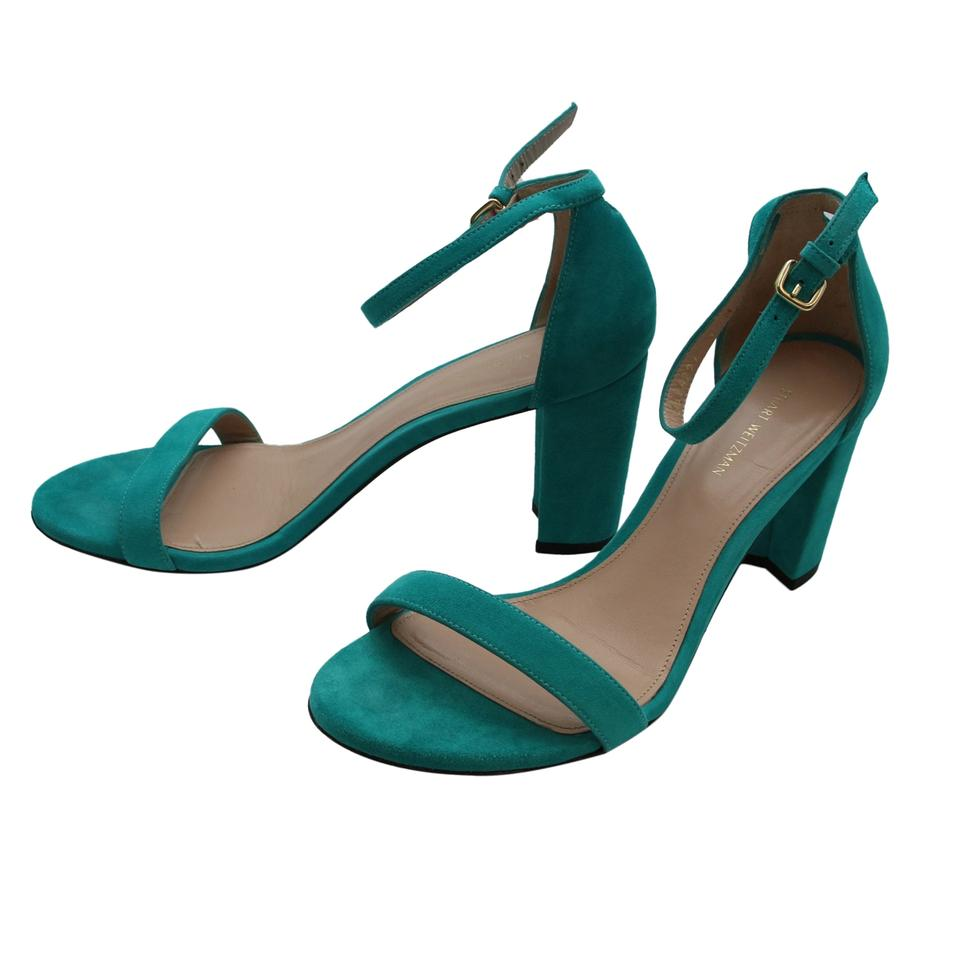 68e127829f06 Stuart Weitzman Turquoise Nearly Nude Women Suede Leather Block Sandals