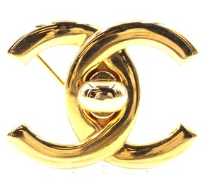 Chanel Rare CC gold interlock hardware brooch pin charm