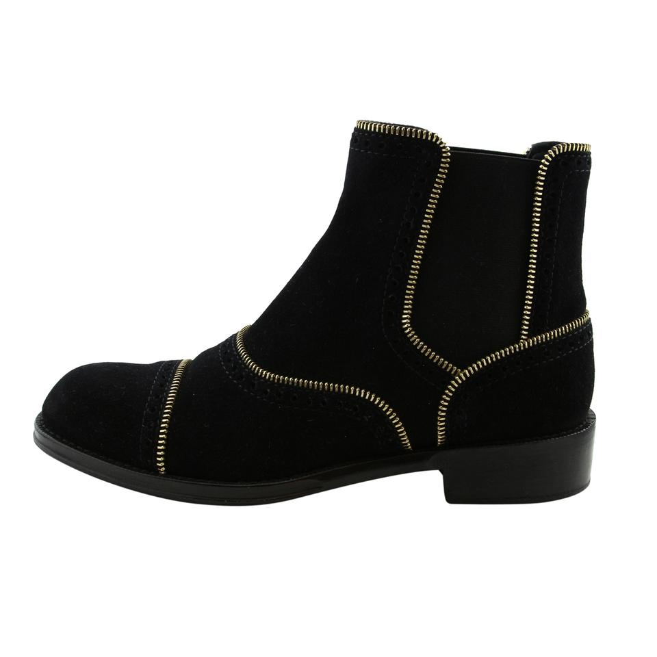 d9f43a6e0359 Louis Vuitton Black Lv Tomboy Women Suede Leather Gold Tone Zip Decoration  Boots Booties Boots Booties