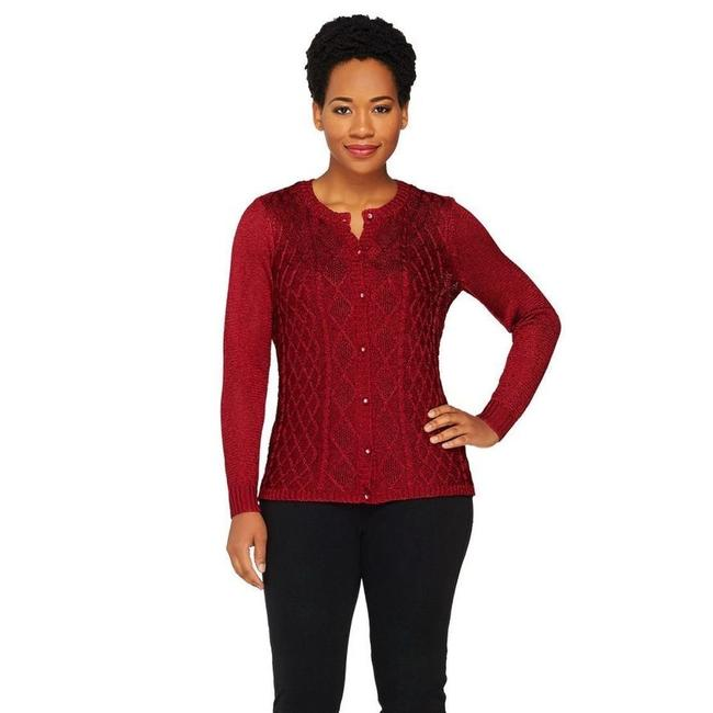 Item - Cable Knit Cardigan Red Sweater
