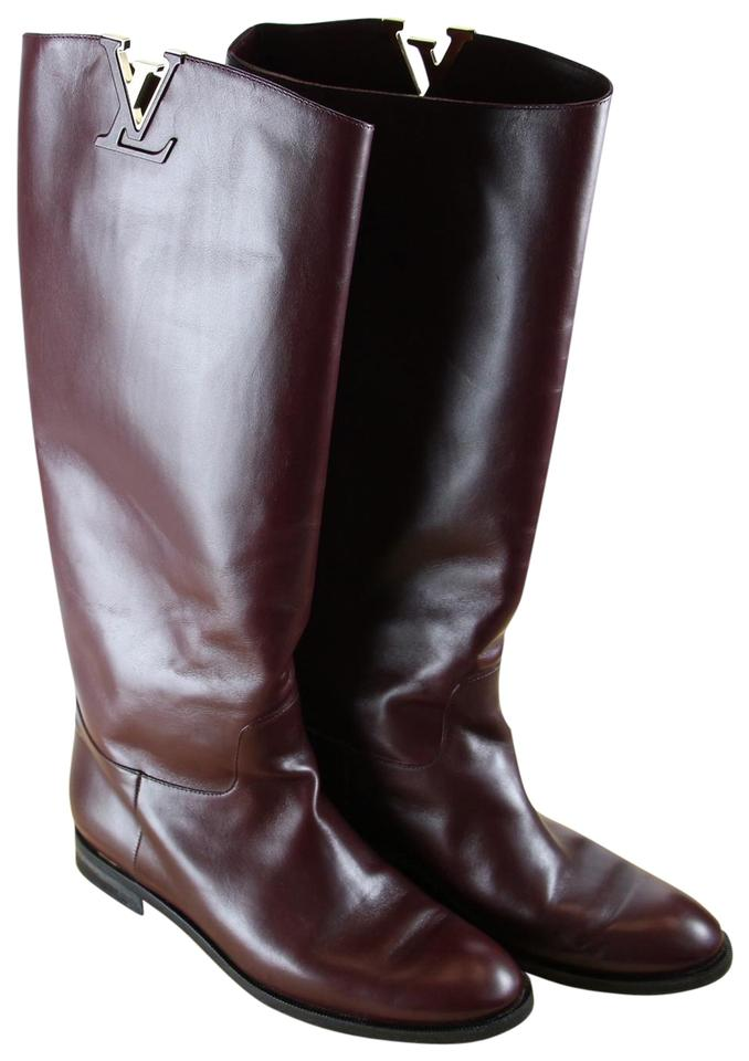 3b9c08691c8 Louis Vuitton Dark Red Lv Women Wine Leather High Pull-on Ridding Boots/Booties  Boots/Booties