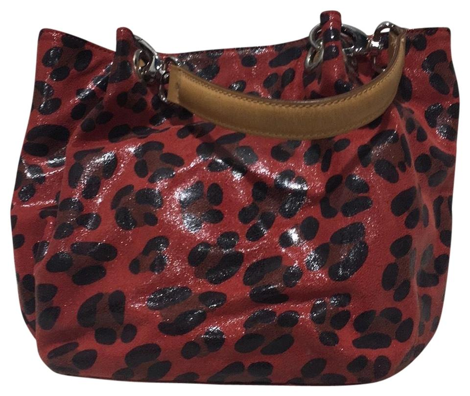 2aa7a4cbe4fd Maurizio Taiuti Spotted Red and Black with Tan Straps Leather Tote ...