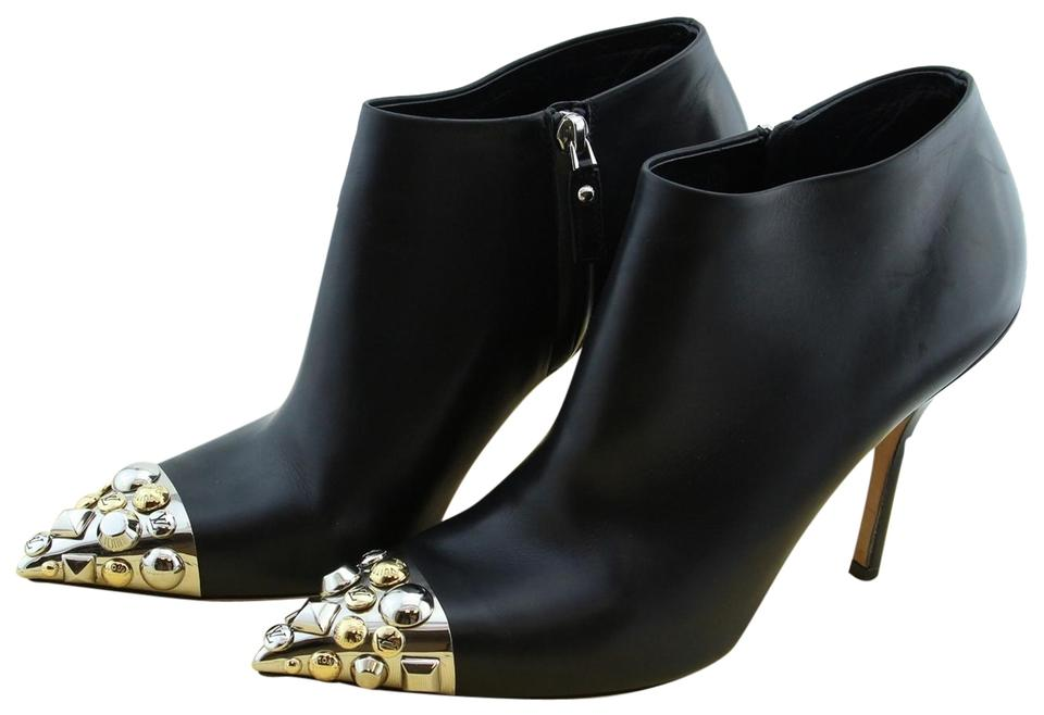 78cc153f3dd Louis Vuitton Black Bernice Women Leather Metallic Studded Cap Toe Slim  Heel Ankle Boots Booties