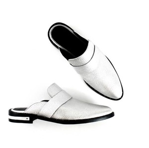 Freda Salvador Slide Leather Studded Silver Mules