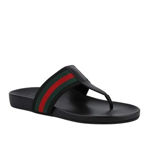 1db11f16fd5 Gucci Black Thong Sandals Leather with Grg 386768 1069 (10 G   10.5 Us)