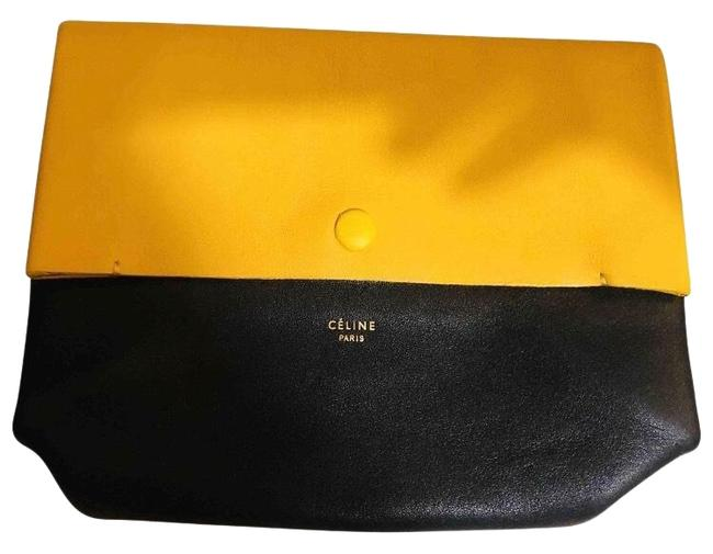 Item - All Soft Tri Color Black Yellow and Caramel Leather Clutch