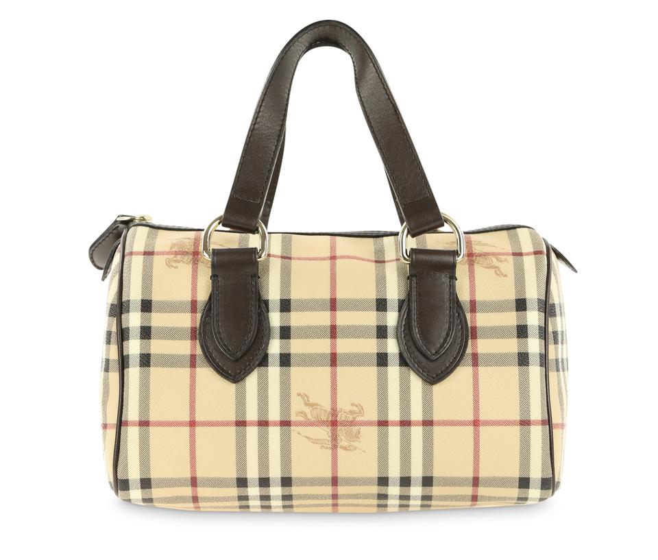 53724e88410c Burberry Boston Haymarket Check Beige Coated Canvas Satchel - Tradesy