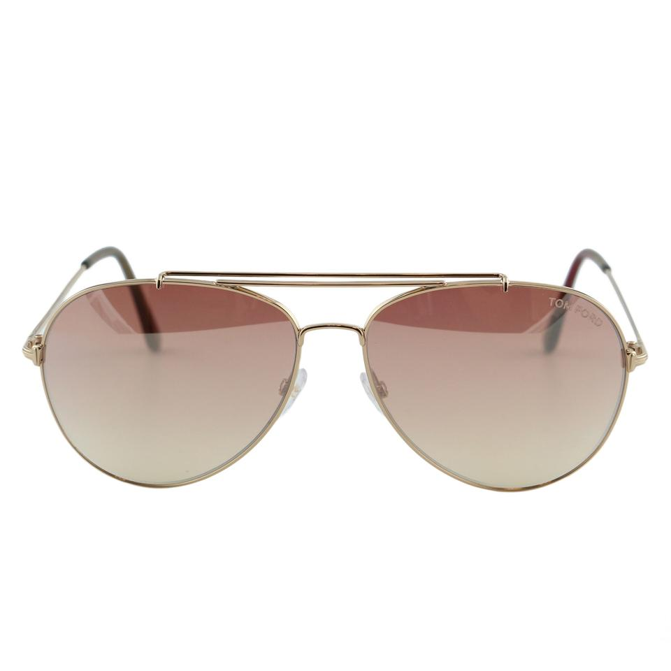 6a13aeecb6 Tom Ford New Tf Indiana Ft0497 28z Women Rose Gold Aviator Sunglasses ...