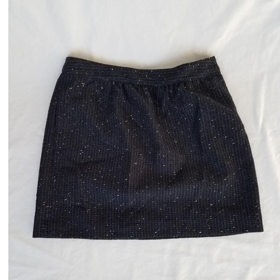 f326a843df9 Ann Taylor LOFT Black Navy with Silver Detail 87763539 Skirt. Size  Petite  ...