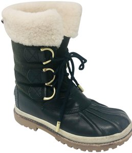 Tory Burch Duck Blue and Dark Green Boots
