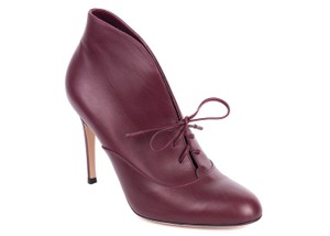 Gianvito Rossi Suede Gold Trim High Back Pump Burgundy Boots