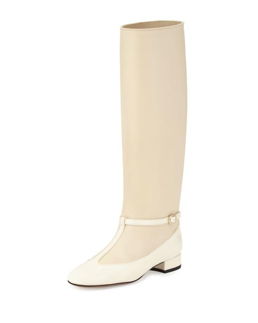 Item - Ivory T-strap Matte and Patent Leather Boots/Booties Size EU 37 (Approx. US 7) Regular (M, B)