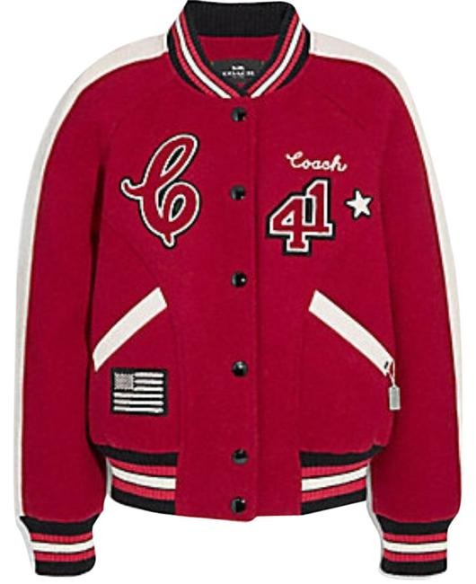 Item - Red Varsity with Patches Jacket Size 0 (XS)
