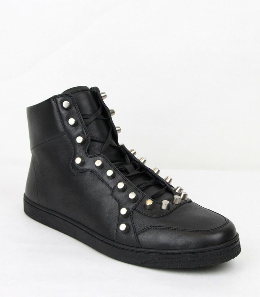 d1f95e84be7 Gucci Black Men s Sttuded Leather High Top Sneaker 8g Us 9 411774 Shoes  Image 0 ...