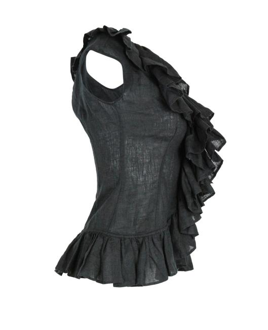 Anne Fontaine Linen Ruffle Top Black Image 1