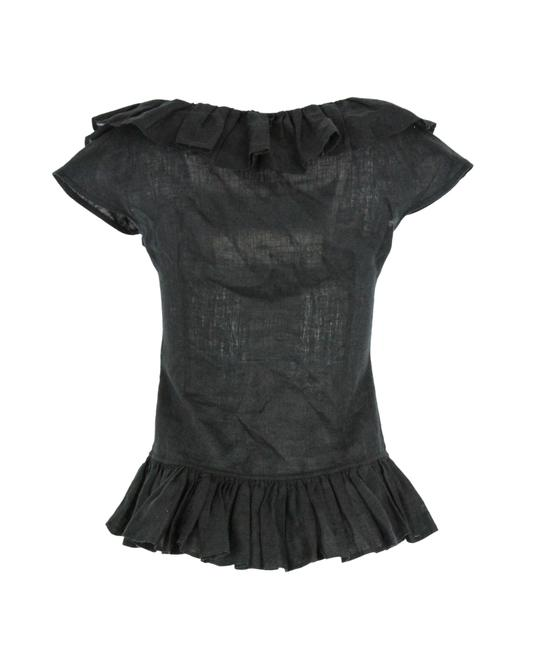 Anne Fontaine Linen Ruffle Top Black Image 2