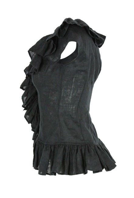 Anne Fontaine Linen Ruffle Top Black Image 3