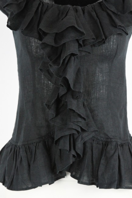 Anne Fontaine Linen Ruffle Top Black Image 4