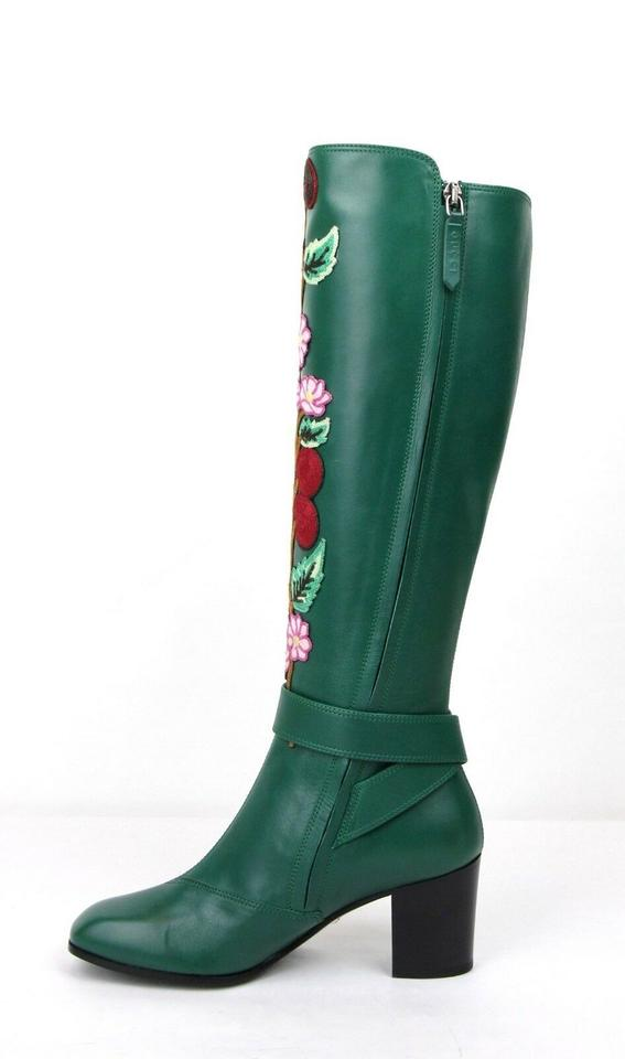 8510af74495 Gucci Green Floral Elizabeth Tall Leather 39.5/Us 9.5 435365 3120  Boots/Booties Size EU 39.5 (Approx. US 9.5) Regular (M, B) 52% off retail