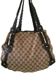 Gucci Horsebit Pelham Totes Monogram Totes Canvas Hobo Bag