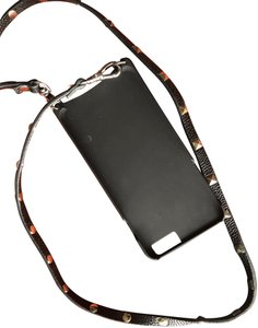 Bandolier IPhone Cross Body Holder Sarah Black Pebble Leather with Pyramid Stud Strap w/pouch